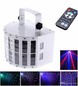 6 Canal DMX512 RGBW LED Mini Estadio de la mariposa Efecto de luz activada por voz LED de luz láser flash Control Automático