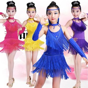 Livraison Gratuite Paillettes Frange Bleu Rose Violet Salsa Robe Enfant Filles Enfants Latin Robes Filles Costumes De Danse Latine