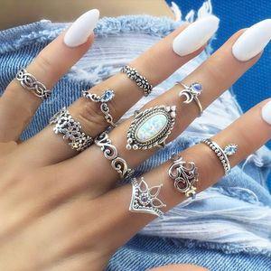 Boho Midi Knuckle Finger Rings Set per donna Beach Opal Crystal Crescent Anelli geometrici argento antico Gioielli bohémien sfusi
