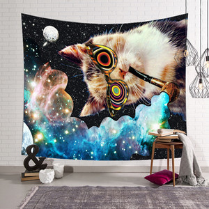 Galaxy stampa digitale Tapestry Cartoon Cat Hippie Wall Hanging Arazzi Home Decor Beach Asciugamano da parete Tenda tappeto Home Decor
