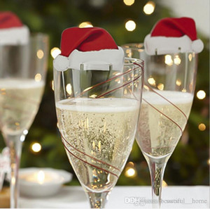 Christmas Cake Sign Flag Wine Glass Flag Toothpicks Bottle Decoration Santa Hat Claus Elk Xmas Decorations