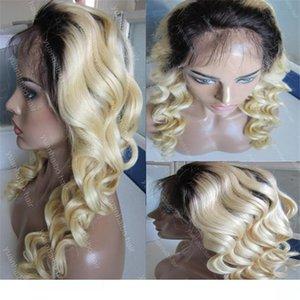 H Auf Blonde volle Spitze-Perücken 8a Qualität 1BT 613 lose Wellen-Jungfrau-Human European Haarfrontseiten-Spitze-Perücken Freies Verschiffen