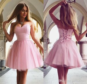 Simple Little Pink Short Homecoming Dresses 2019 Strapless Tulle Knee Length Evening Gowns Girls Sweet 16 Party Dress Custom Made Online