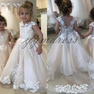 Lovey Flower Girl Dresses 2019 First Communion Dresses For Girls Tulle Lace Applique Princess Ball Gown Pageant Dresses