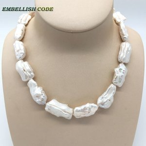Baroque Summer Style Pearl Statement Necklace Irregular Square White Pearls Perle coltivate naturali Gioielli eleganti per le donne J190721