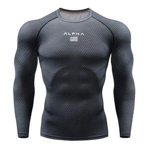 Shirt Moda piombo Newst esecuzione da uomo Bodybuilding Sport T-shirt manica lunga Compression Top Gym T Uomini fitness stretta Rashgard MMA Maschio