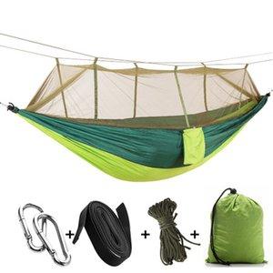 12 Farben tragbare Hängematte mit Moskitonetz Einzel-Person Hammock Hanging Bett Klapp in dem Beutel für Spielraum EEA1065