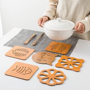 Empty Coaster Creative Hollow Wooden Coaster Kitchen Thickened Anti-Scalding Insulation Mat Placemat Non-Slip Pot Mat Bowl Mat