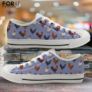 FORUDESIGNS Canvas Women Shoes Farm Chicken Print Fashion Vulcanized Shoes Low Top Flats for Students Girls Casual Spring Shoes
