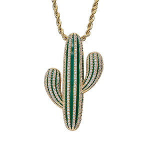 Full Iced Out White green Cubic Zirconia Cactus Shape Pendants Fashion Hiphop Plant Necklace Gold Color Mens Jewelry