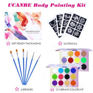 UCANBE Neon Gesicht Körper Farbe Tattoo-Sets mit 24 Schablonen und 6 Bürsten Halloween-Party-Festival Make-up-Abendkleid-Malerei-Kunst