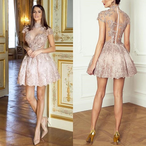 Lovely Blush Pink Ball Gown Short Cocktail Dresses High Neck Short Sleeves With Sequin Beading See Through Middle East Homecoming Gowns