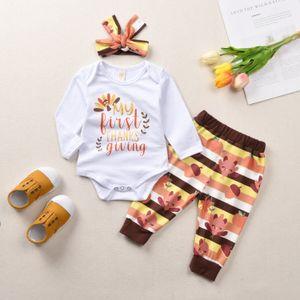 baby Kids Thanks Giving Day ползунки комплект одежды О-образным вырезом с длинным рукавом Турция ползунки + брюки + шляпа младенцев спасибо дарить одежду 3 шт. комплект