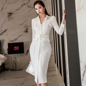 봄 여성의 셔츠 드레스 연필 Bodycon 싱글 브레스트 화이트 천 무릎 길이의 벨트 섹시한 OL 사무실 여성 취업 드레스