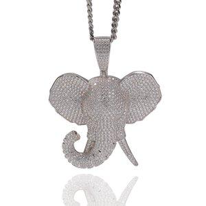 Hop della collana di Hiphop di stile Iced Carino pavé di diamanti dell'elefante Collana 3D Elephant Head design alla moda