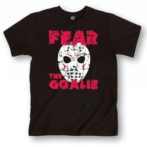 Peur La glace d'horreur drôle Gardien de but de hockey Masque Retro Sport Nouveauté-Mens à manches courtes T-shirt (1)