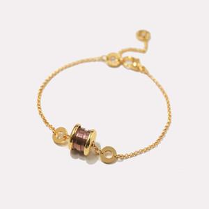 Außenhandel heiß-Verkauf Titan Stahl Schmuck Designer Armband Großhandel Mode einfache Marke B glänzende Keramik Charme Armbänder