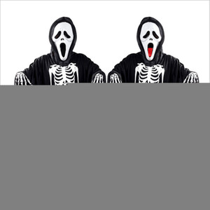 2017 New Hot Halloween Cosplay Skeleton Unisex Suit Human Skeleton Pattern Costume Halloween Scare Performance Clothes Wear Mask Suit Adults