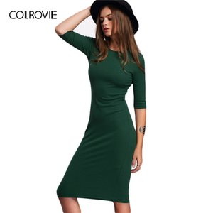 Colrovie Work Summer Style Women Bodycon Vestidos Sexy Casual Green Crew Neck Media Manga Midi Vestido MX19070108