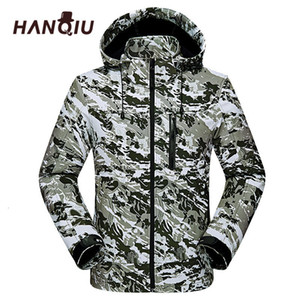 HANQIU Moda camuflaje Parejas Jas Hombres Mujeres Casaco Cabo Windjack impermeable Dunne Runner Camo Jas Jaqueta