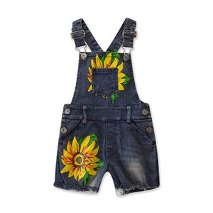 Ins 2020 del denim delle ragazze di estate pantaloni della bretella delle ragazze floreali vestiti dei bicchierini Kids Designer Girls jeans bambini tuta B122 all'ingrosso