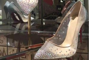 2019 yeni bahar yaz Zarif stilleri kadın ayakkabı Taklidi yüksek topuklu kristaller sivri burun mesh Pompaları kadın kırmızı taban düğün ayakkabı