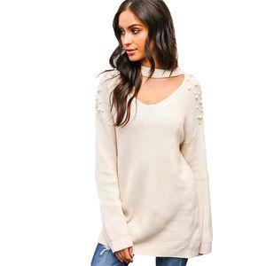 Weyes Kelf V-neck Pull Sólidos Sexy Pérola Sweater Mulheres pulôver Outono Inverno Malhas Mulher pulôver Sueter De Mujer