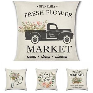 Nueva Primavera fundas de almohada Funda de almohada flor de bicicletas Carro de la granja de impresión digital almohada del sofá ropa para el hogar Decoración 5kha H1