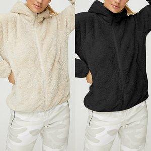 Kış Sıcak Ceket Hoodie 2019 Casual Kadın Fermuar Sweatershirt Hip Hop Hoodie Coat Katı Yumuşak Polar Kadın Coat