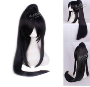 LIVRAISON GRATUITE + + + Kanda You Long Noir Perruque Anime Clip queue de cheval Cosplay Perruque de Fête Cheveux