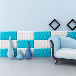 Salon Yatak odası Duvar Dekor için DIY Çocuk Duvar Yumuşak Çanta Panelleri Sticker 18MM Kalın Su geçirmez Kendinden yapışkanlı duvar kağıdı Ev Dekorasyonu