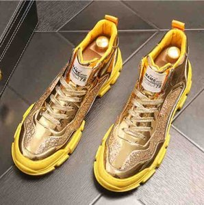 European Fashion Gold Silver sequins Men's high-tops young board shoes Platform shoes Casual Shoes sneakers Ankle boots