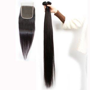 KISSHAIR Remy Hair 3 Bundles mit Closure seidigen gerade Raw Jungfrau-indischem Haare brasilianischen peruanischen Rohboden Haarverlängerungen
