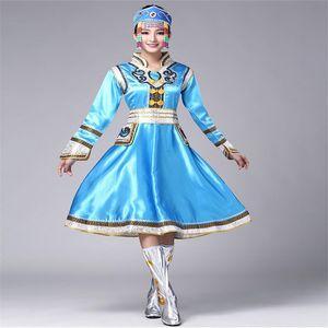 Çin Mongolian Of Dance Kıyafet Moğol Geleneksel Giysiler Ulusal Dans Giyim Kostüm Etnik Çinli Halk Giyim