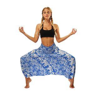 2019 nueva moda femenina euro-americana Desgaste de las mujeres Étnico viento Elefante Impreso de patas sueltas Linterna sueltos pantalones de yoga