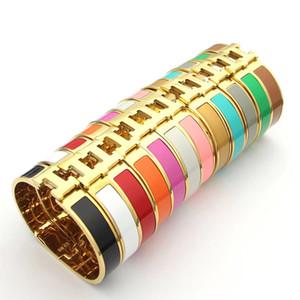 Nueva llegada de 12 mm de anchura 316 mujeres de acero de titanio de la moda rosa, oro, plata H Manguito BraceletsBangles pulsera de la pulsera del esmalte de color