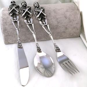 Nueva gama alta de acero de titanio vajilla del Tenedor / Cuchara / Cuchillo Cuchara Tenedor Cubiertos los kits comedor Forks Bento Cocina Accesorios T200227