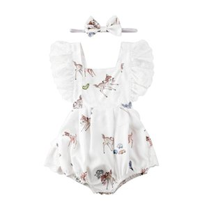 0-24 Months Baby Girl Clothes Xmas flying sleeve Deer Lace Romper Floral cotton Romper Bodysuit headband 2PCS Outfit