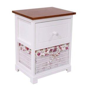 2 уровня Деревянной Тумбочка 1 ящик и 1 Basket Прикроватной Диван Стол Организатор для спальни гостиной