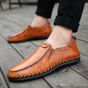 newest genuine leather male shoes suede loafer official shoes gee mens travel walk shoe casual comfort breath shoes for Men free shippingntl