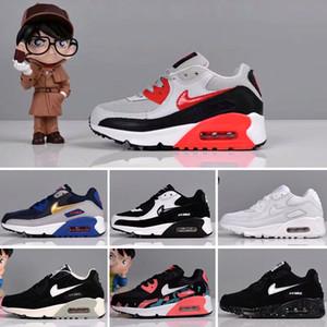 Nike air max 90 2018 Niños Moda Transpirable Clásico 90 Zapatos de cuero con 9 colores Niños Zapatos de buena calidad para niños Diseñador Envío gratis Eur 28-35