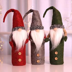 Tampa Da Garrafa De Vinho de natal Decoração de Papai Noel Boneco de Neve Tampa de Garrafa De Veado Roupas Decoração Da Cozinha Para O Jantar de Natal Xmas Suprimentos WX9-1137