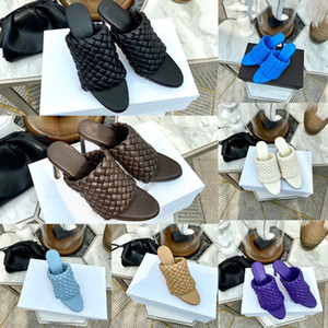 Sandali mandorla pantofole sandali scarpe da donna di lusso punta Muli Curve sandali cinturino in pelle tacchi alti stilista tessute