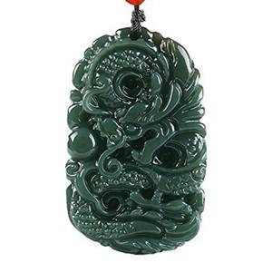 Чистый натуральный ручной работы Цин Jade Dragon ожерелье кулон Размер: 50 мм * 31 мм J190519