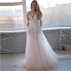Sheer che bordano i Applique maniche lunghe abiti da sposa O Scollo Vestido De Festa di lunghezza del pavimento pulsanti Indietro lungo abito da sposa 2020