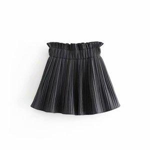 Femmes Vintage plissée à carreaux Jupes Houndstooth élastique froncée à Ladies Shorts Casual Pantalones Cortos