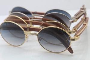 الجملة الخشب خمر المواد المعدنية للجنسين 7550178 خشبية نظارات جولة الطيار النظارات الشمسية UV400 القيادة النظارات الإطار الحجم: 55-22-135mm