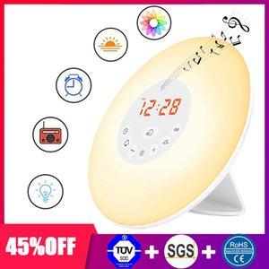 Digital Despertar Relógio Despertador Up Light Table Lamp LED eletrônico Relógio Despertador Sunrise Sunset Rádio despertador Snooze Clocks FM Desk