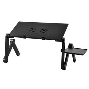 Nouvelle 360 degrés pliant portable Ordinateur portable réglable Glossy Table Stand Lit Lap Bureau Canapé Plateau ventilateur (noir)