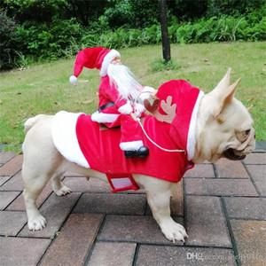 عيد الميلاد الكلب الملابس ازياء سانتا الكلب حزب عطلة خلع الملابس الملابس لسمال متوسط كبير الكلاب مضحك الحيوانات الأليفة الزي ركوب الخيل